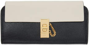 Chloé Black and Off-White Long Drew Flap Wallet