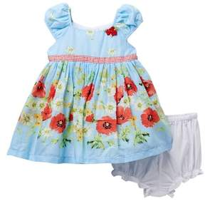 Laura Ashley Blue Border Print Dress (Baby Girls)