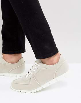 Asos Retro Sneakers In Relaxed Off White Faux Suede