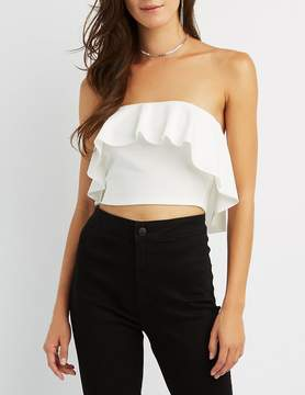Charlotte Russe Tiered Ruffle Strapless Crop Top