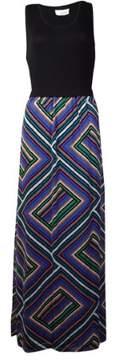 Calvin Klein Women's Geometric Chiffon Bottom Dress (M, Lagoon Combo)