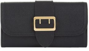 Burberry Buckle Textured Leather Continental Wallet - BLACK - STYLE