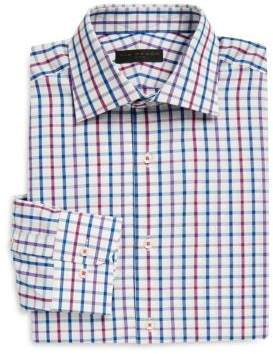 Ike Behar Multi-Check Cotton Poplin Dress Shirt