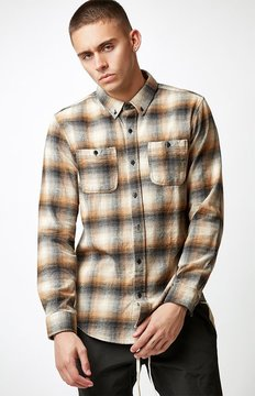 Ezekiel Harborside Plaid Flannel Long Sleeve Button Up Shirt