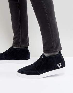 Fred Perry Shields Mid Suede Sneakers in Navy