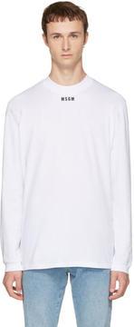 MSGM White Long Sleeve New Logo T-Shirt