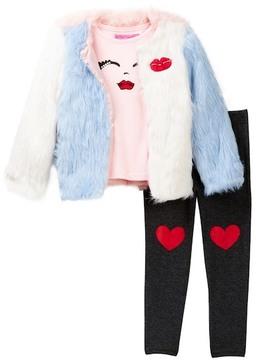 Betsey Johnson Face Tee, Color Block Faux Fur Jacket & Legging Set (Toddler Girls)
