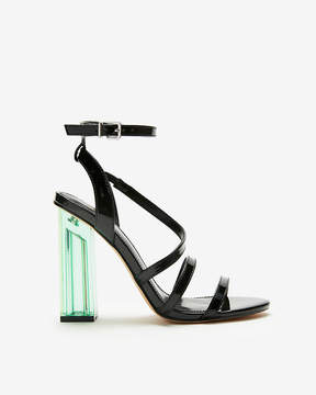 Express Strappy Asymmetrical Clear Heeled Sandals