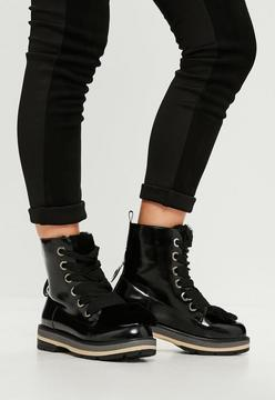 Missguided Black Faux Fur Tongue High Shine Ankle Boots