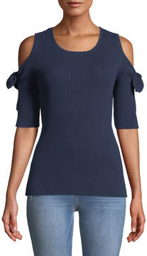 Cynthia Steffe Cece By Ribbed Cold-Shoulder Top