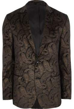 River Island Mens Brown and gold paisley slim fit blazer