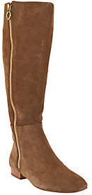 Halston H by Suede Tall Shaft Exposed ZipperBoots - Amber