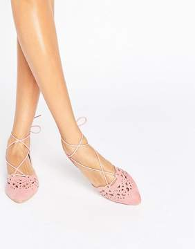 Glamorous Cut Out Tie Up Dusty Pink Point Flat Shoes