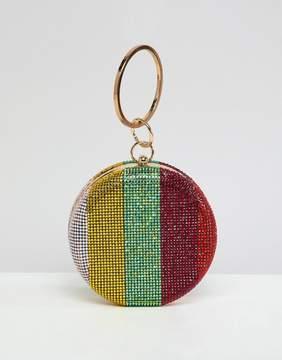Asos DESIGN rainbow gem clutch bag