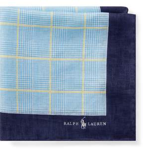 Ralph Lauren Glen Plaid Linen Pocket Square