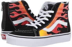 Vans Kids Sk8-Hi Zip Black/Black/True White) Boys Shoes