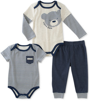Calvin Klein 3-Pc. Striped Bodysuits & Pants Set, Baby Boys (0-24 months)