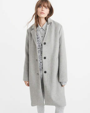 Abercrombie & Fitch Long Wool-Blend Coat