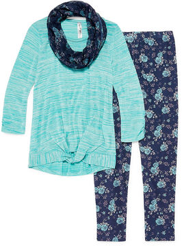 Knitworks Knit Works Long Sleeve Tie Front Top Legging Set with Scarf- Girls' 7-16 & Plus