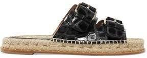 Paloma Barceló Rachele Buckled Croc-Effect Leather Sandals