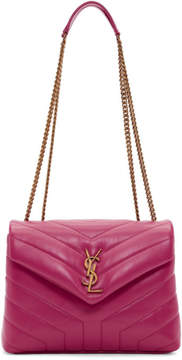 Saint Laurent Pink Small Loulou Monogramme Chain Bag