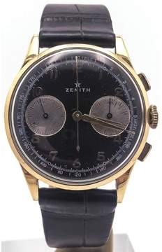 Zenith 18K Yellow Gold Chronograph Black Dial Telemeter 37.5mm Mens Watch