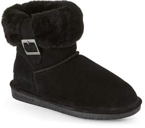 BearPaw Black Abby Sheepskin Trim Boots