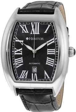 Heritor Redmond Silver Dial Black Leather Men's Watch