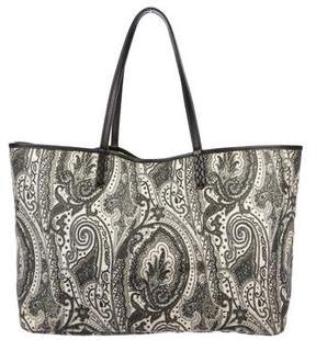 Etro Leather-Trimmed Printed Tote