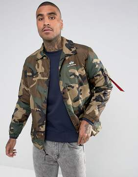Alpha Industries Insulated Coach Jacket in Camo Green