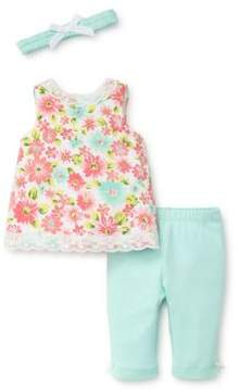 Little Me Baby Girl's Daisy Three-Piece Cotton Headband, Top and Pants Set