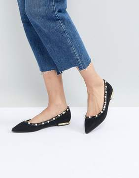 Miss KG Morgan Pearl Studded Pointed Ballet Flats