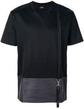 Les Hommes contrast cut T-shirt with suspender