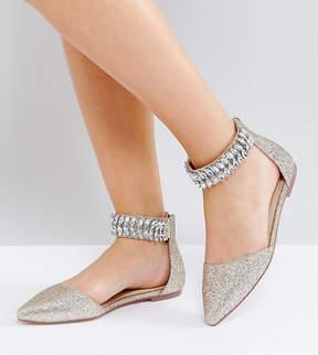 Asos LILAC Wide Fit Embellished Pointed Ballet Flats