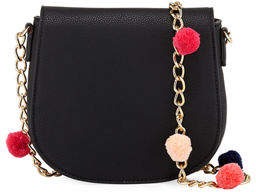 Neiman Marcus Pompom Chain Messenger Bag