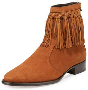 Jimmy Choo Eric Men's Dry Suede Fringe-Trim Ankle Boot, Tan