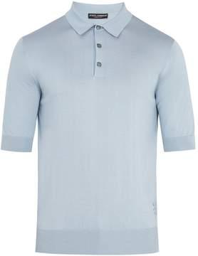 Dolce & Gabbana Point-collar silk-knit polo shirt