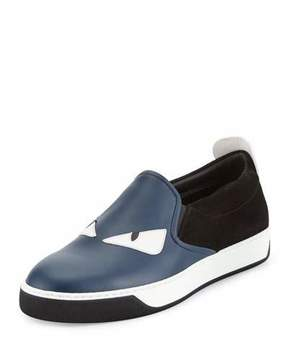 Fendi Monster Leather & Suede Slip-On Sneaker, Blue