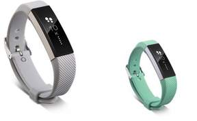 Fitbit Alta HR and Alta Replacement Bands 2 PCS BUNDLE SET, by Zodaca Soft TPU Rubber Adjustable Wristbands with Secure Metal Buckle Watch Band Strap For Alta HR / Alta - Gray+Mint Green