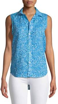 Frank And Eileen Fiona Sleeveless Button-Down Floral-Print Linen Shirt