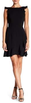 Donna Morgan Ruffle Boatneck Crepe Dress