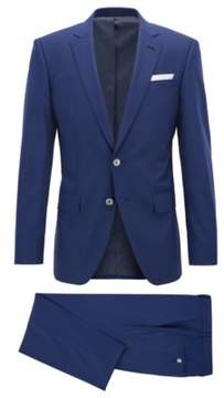 BOSS Hugo Pinstriped Wool Silk Suit, Slim Fit Hutson/Gander 36R Dark Blue