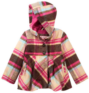 Urban Republic Single Breasted Faux Shearling Hooded Jacket (Toddler & Little Girls)