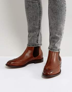 H By Hudson Breslin Leather Brogue Boots In Tan