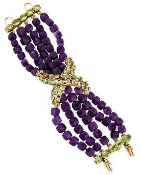 Bounkit Peridot & Amethyst X Multistrand Bracelet
