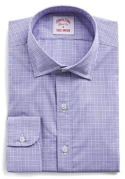 Hamilton Purple and White Check Poplin Shirt