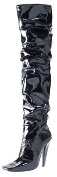 Tom Ford Scrunched Patent 105mm Boot, Black