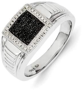 Ice 14k White Gold Black and White Diamond Men's Ring