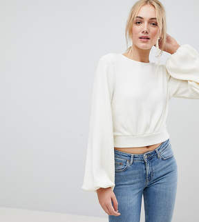 Fashion Union Tall Bishop Sleeve Cropped Knitted Sweater