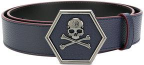Philipp Plein skull logo plaque belt